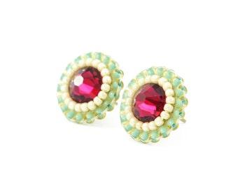 Mint earrings   swarovski ruby earrings   mint ruby red studs   mint bridal jewelry   mint ruby fuchsia bridesmaid earrings wedding jewelry