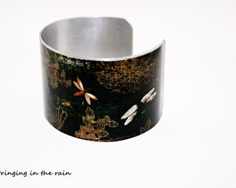 Dragonfly cuff bracelet, picture, art, adjustable, silver No. BB