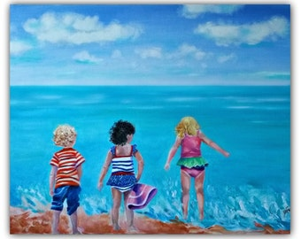 "OilPaintingAbstract, ""3 BEACH BUDDIES"" OriginalOilPaintingonCanvas Seascape #beach #kids, #children #play #ocean #clouds #SignedByTheArtist"