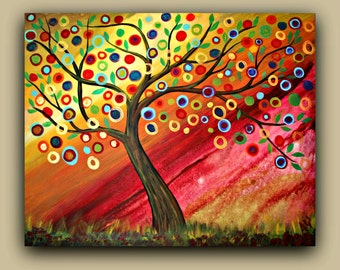 Whimsical Tree -  Original Large Painting on Stretched Canvas ~ 40 x32