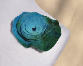 Felt flower, brooch, flower,  beads, turquoise, green