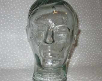 PRICE DROP! Clear Glass Head Mannequin Display Molded Glass Man Woman Stand Mod