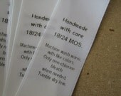 Garment Labels, Satin Clothing Labels, Size Care Labels, 50 Sz 18 - 24 MO Labels, Sew In Label, Printed Garment Labels, Fold-Over Labels