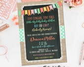 gender reveal invitation neutral baby shower bunting banner polka-dots item 1256 burlap lap chalkboard mint coral shabby chic diaper couples