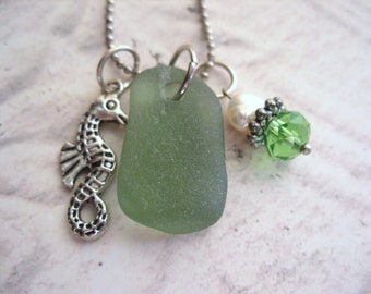 Seahorse Necklace with Green Scottish Sea Glass And Freshwater Pearl, Gift from Scotland