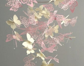 Medley Butterfly Chandelier Mobile - girl room mobile, nursery mobile, baby girl mobile, photo prop,