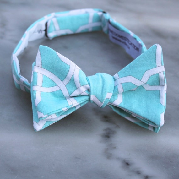 Aquamarine Lattice Bow Tie - Groomsmen and wedding tie - clip on, pre-tied with strap or self tying