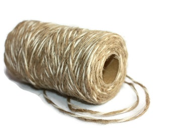SALE 2 mm Twisted Cord - Natural Jute+Cotton - 1 spool = 90 Yards = 80 Meters - Christmas Decorations - Burlap Banner