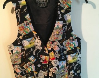 Vintage  90s  Nicole Miller Vest     Novelty  Photography  Silk   Designer   Formal  Art To Wear
