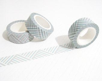 Aqua Gray White Diagonal Washi Tape - Planner Washi Tape - Aqua Gray White Diagonal Masking Tape - 10 mt - Planner Filofax Aqua Washi Tape
