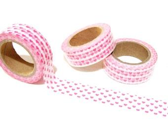 Tiny Pink Hearts Washi Tape - Planner Washi Tape - Cute Pink Hearts Washi Tape - 10 mt - Decorative Paper Tape - Pink Hearts Planner Washi
