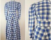 Vintage 1940s Dress / Blouse and Skirt Set / Blue Plaid / Long Skirt / Small