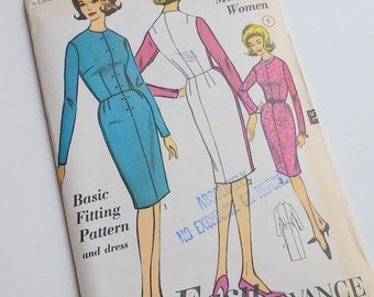 "1960s Dress Pattern / 32"" Bust / Fitted Dress Pattern / Basic Dress Pattern / Sew Easy 3155 / Uncut"