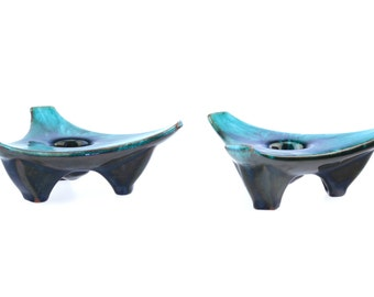1970's Vintage Marbled Blue Mountain Pottery Tripod Candle Holders..