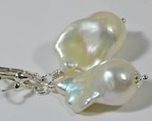 White Baroque Pearl Earrings Pearl Earrings Bridal Pearl Earrings Wedding Jewelry Birthstone Jewelry Pearl Earrings