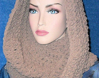Taupe Crochet Infinity Scarf, Infinity Scarf, Plush Crochet Taupe Scarf, Infinity Scarf,Crochet Infinity Scarf, Chenille Infinity Scarf