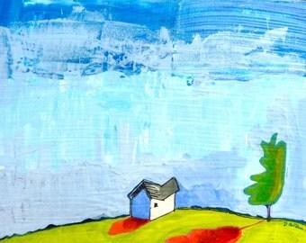 House 8 x 8 original acrylic painting,art landscape, painting of house, little house, landscape painting, prairie