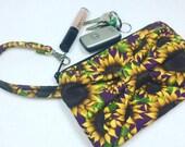 wristlet, Sunflower wristlet, sunflower, beach wristlet, gift for her, tweeny purse