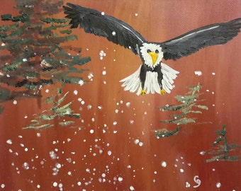 More Snow Bald Eagle Flying Original Oil by CherylNancyAnnGordon
