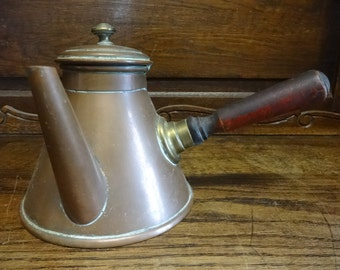 Vintage French Copper Wood Handled Coffee Brewing Stove Top Pot circa 1940-50's / English Shop