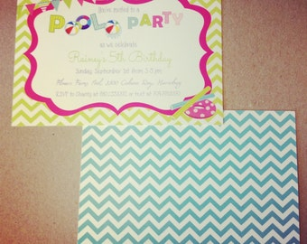PRINTED Pool Party Birthday Invitations, set of 25