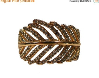 ON SALE 14K Yellow Gold Paved Cz Filigree Ring - Size 7.75