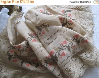 ON SALE Superb Antique French Hand Embroidered Lace Edged Hand Drawn Threadwork  Runner or Valance