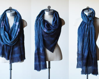 extra long skinny scarf, hand painted, shibori dyed, faded blues and purple, cotton wrap