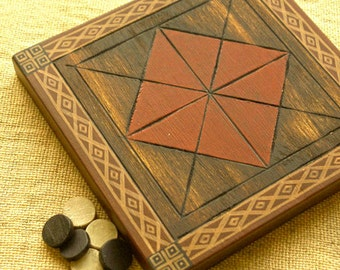 ANCIENT BOARD GAME  - Woodwork - Art - Handmade - Decoration - Gift - Wedding gift - Christmas gift:  Picaria (New Mexico, Tigua Indians)