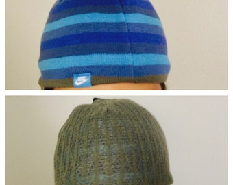 Revirsable NIKE Beanie, Two Tone Blue, Knit Woman Accessory, Winter Wear, tem no. BDE002