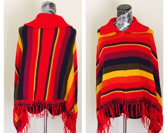 Alpaca Fringe Poncho Adult Size, Multi Color, Hand Made, souvenir from Peru, BDE002