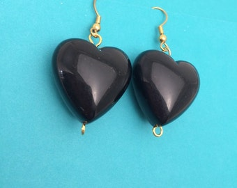 Black Heart  Earrings, Vintage Inspired, Gold tone, Made in the USA, item no D511