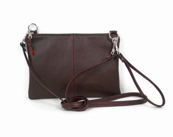 Burgundy Leather Crossbody Bag, Leather Wristlet Clutch, Leather Shoulder Bag, Leather Crossbody Purse, Leather Handbag Made in USA