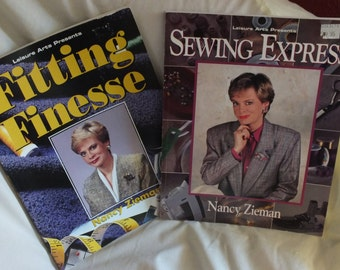 2 Vintage Leisure Arts Softback Books by Nancy Zieman - Fitting Finesse and Sewing Express