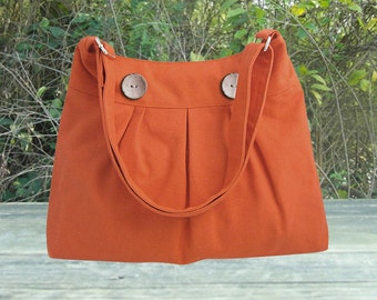 orange cotton canvas travel bag / shoulder bag / messenger bag / diaper bag / cross body bag, zipper closure