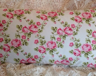 Lovely Rose Trellis Pillow cover Bright pink white and green