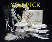 Alice in Wondeland Madhatter Wedding Theme, Pick! Cake Topper or Glasses or Cake Knife Set or Guest Book simpson funny Kiss