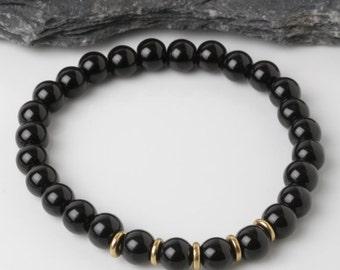 black onyx bracelet, onyx stone bracelet, black stone bracelet, mens bracelet, yoga bracelet, gift for him, meditation bracelet