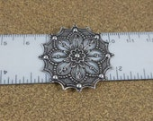 Fancy Antique Silver-plated Brass Round Filigree Flower Focal 34x34mm 2271-FM