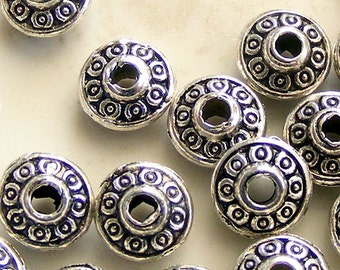 25 pcs Antique Silver Spacer Beads 6.5x4mm MW-P5914