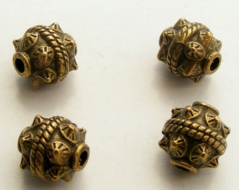 3pcs Antique Brass Drum Beads 10mm Z-N1443-AB