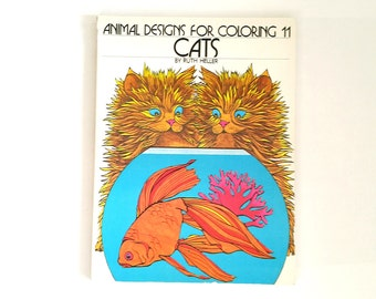 Adult Coloring Book CAT Coloring Book Vintage CATS Animal Designs for Coloring by Ruth Heller 1979
