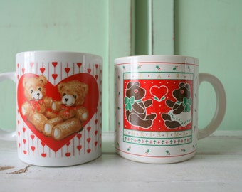 1980s LOVE MUG SET...red and white. vintage housewares. coffee. tea. drink. 80s retro. valentines day. lover. gift. hearts. kitsch. love mug