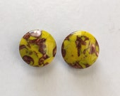 1950s Italian Murano Foiled Glass Yellow and Bronze Clip on Earrings COK888