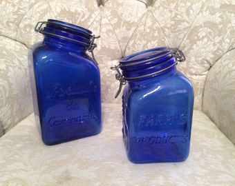 2 Blue Cobalt Canister Farms Products With Metal Clasping Seal. Beautiful Fruit Design And Reads Produits De Camragne Canister Jar Set Of Tw
