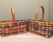 Reserved for Jaime - 2 Handmade Large Girl's Easter Baskets - Multicolored