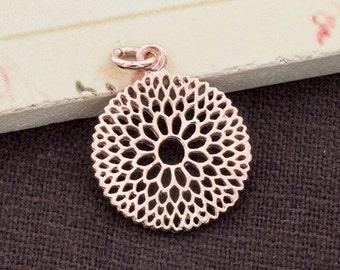 1 of 925 Sterling Silver Rose Gold  Vermeil Style Filigree Flower Pendant 17.5 mm. Polish Finished   :pg0153