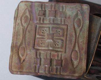 Antique big brass plate, part of buckle, original patina, original Art Deco style decor