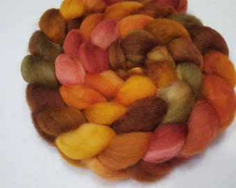 Hand Dyed Superwash BFL - 4 Ounces - Gold, Orange, Red, Brown and Olive