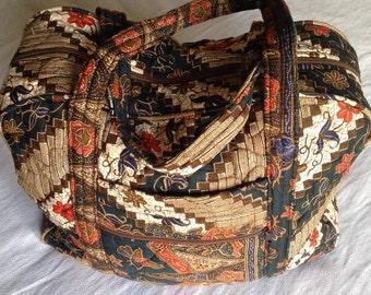 Vintage Ethnic Quilted Fabric Travel Boho Bag Orange Brown